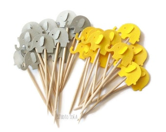 Mixed Yellow & Grey Elephant Cupcake Toppers, Food Picks-Set of 12pcs, 24 pcs