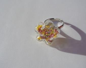 glass ball flower shape ring