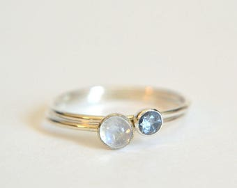 Set of Two 14k Solid WHITE Gold Moonstone Rings, Moonstone Ring White Gold, 14k White Gold Aquamarine Ring, Stackable Ring, Palladium