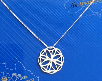 """Real Solid 925 Sterling Silver, Celtic Flower Pendant Necklace, Curb Chain 18"""" inch, Gift For Her, High quality Silver, Valentines Gift"""