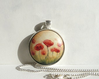 Romantic Poppy Necklace, Poppies Pendant, Flower Jewelry Hand Painted Wood Pendant, Field of Flowers, Little Painting, Necklace Bezel