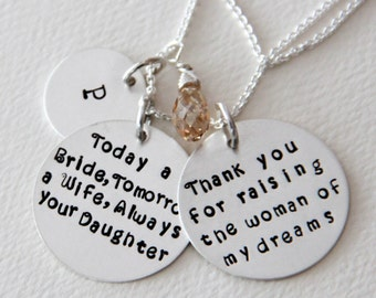 Mother of The Bride Necklace, Mother of The Bride Jewelry, Today a Bride Tomorrow a Wife, Necklace, Personalized Pendant, Spring Wedding