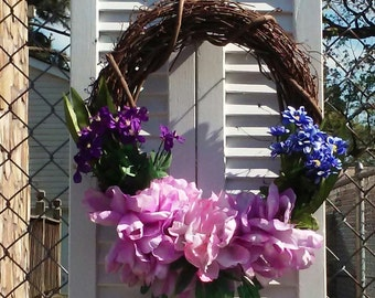 FRONT DOOR SUMMER Wreath/Summer Door Wreath/Spring & Summer Wreath/Lavender/Pink/Purple/Dried Silk Blue Flowers/Front Door Hanging Wreath