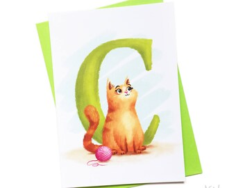 Illustrated - Alphabet Greeting Card - C is for Cat