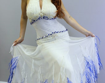 White Dance Dress with blue feathers on the bottom   White  Ballroom Dance Dresses
