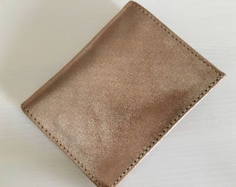 Gold iridescent leather card holder