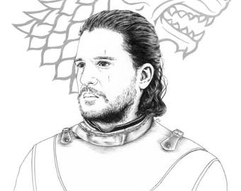 The Snow of Winterfell - Jon Snow, 6x8 / 8x12 print