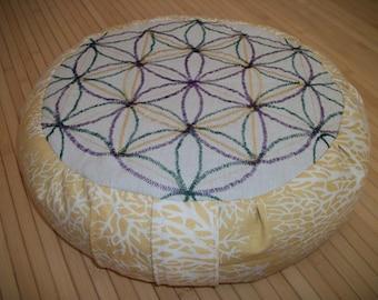 "Meditation Cushion. Zafu. Flower of Life. Flax/Linen Fabric, and Sunset Coral. 15""x5"". BuckwheatHulls. 6"" L. Sidewall Velcro. Handmade, USA."