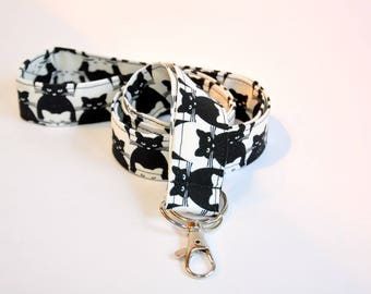 Fabric Lanyard swivel hook and split ring - cat lover - black and white  -  Teacher  lanyard -  lanyard travel agent - safety clasp optional