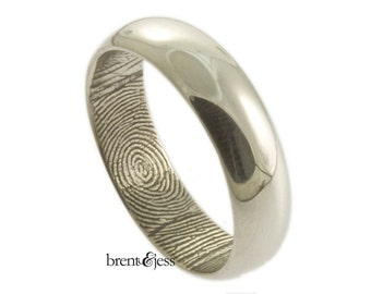 Traditional Low Dome Personalized Fingerprint Wedding Ring With Interior Wrap Print in Sterling Silver - 6mm Fingerprint Ring