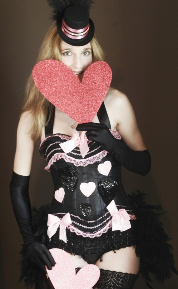 PINKY Black Burlesque Corset Costume Queen of Hearts Pink Valentine's Day sexy halloween dress