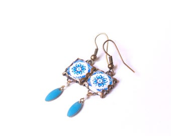 Vintage patterned earrings Tile earrings with art nouveau style  Blue and white tones.