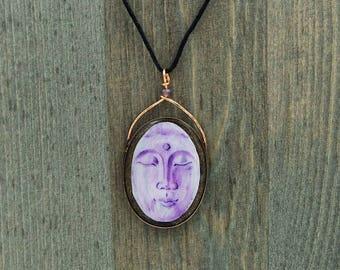 Buddha necklace, buddhist jewelry, hand painted buddha necklace, buddha face necklace, hand painted resin, meditation jewelry, spiritual