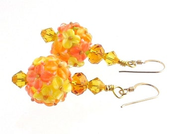 Yellow and Orange Flower Lampwork Earrings, Beaded Earrings, Floral Jewelry, Lampwork Jewelry, Gifts, Mother's Day