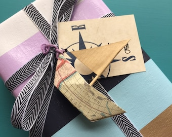 Origami Sailboat and Compass Gift Tag Set