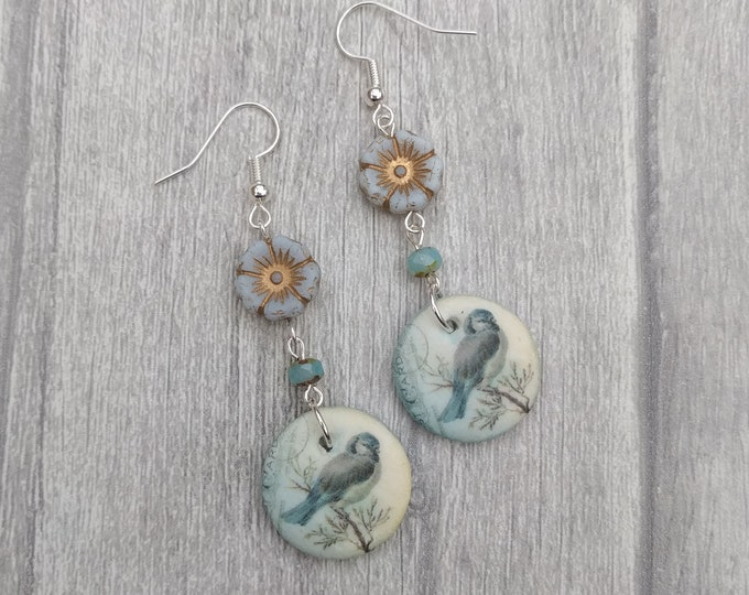 Blue Bird Statement Earrings, Animal Jewelry