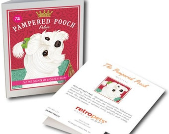 """Maltese Cards  """"Pampered Pooch"""" 6 Small Greeting Cards by Krista Brooks"""