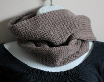 Long alpaca merino blend infinity unisex scarf (medium taupe brown)