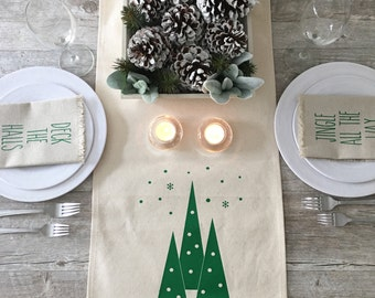 Christmas Table Runner Winter Trees Table Runner Holiday Table Runner Cotton Canvas Table Runner Farmhouse Decor Farmhouse Christmas Tress