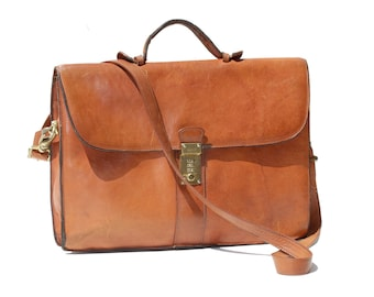 Vintage Women's Brown Leather Briefcase Messenger Bag
