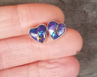 Lovely Purple Mohave Turquoise Heart Post Earrings Southwestern Bohemian Turquoise Earrings