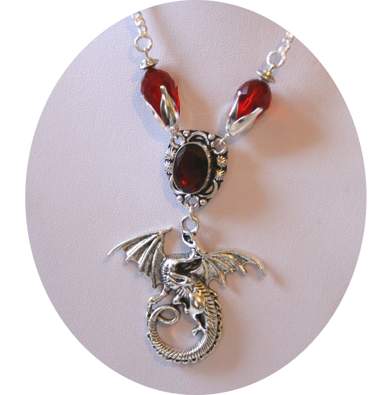 fantasy etsy pendant necklace il market red art mythical jewelry itsa dragon