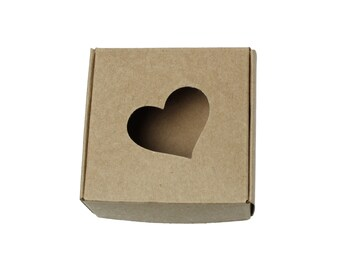 10 Kraft Gift Boxes - Light Brown Heart Pattern folding jewelry boxes 3 inches