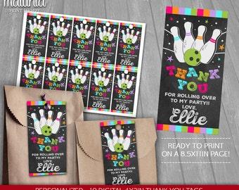 Bowling Thank You Tags Printable - PERSONALIZED - Bowling Birthday Party tags - Bowling Birthday Labels - Strike