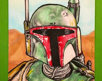 Boba Fett the Bounty Hunter ORIGINAL Artist Trading Card FREE SHIPPING