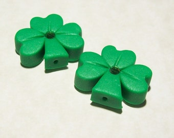 Shamrock Polymer Clay Beads Medium Size with Matte Finish - Vertical Hole