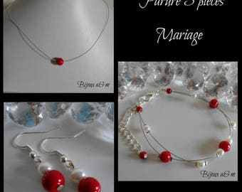 Set of 3 wedding pieces passion red and white beads