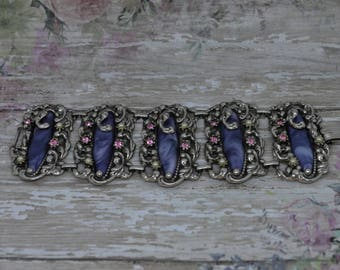 Unusual Vintage Selro Selini Bracelet Wide Marbled Purple Thermoset With Pink Rhinestones and Faux Pearls