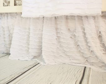 White Crib Skirt - White Crib Bedding - White Bed skirt - Long Crib Skirt- Modern Baby Nursery - Crib Skirt Girl - White Ruffle Crib Skirt