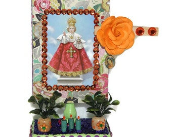 Infant Jesus of Prague, Mexican Wooden Nicho, Mexican Shrine, Day of the Dead, Catholic Kitsch, Prayer Card, Wood Altar, Wood Shrine