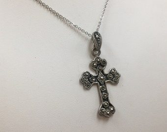 Vintage 925 Sterling Silver Marcasite Cross Pendant Necklace!!! Free US Shipping!!!