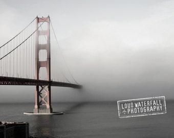 Variation - Golden Gate Bridge in Fog, San Francisco, Pacific Ocean, 8x12 10x15 12x18 16x24 Travel Fine Art Photograph