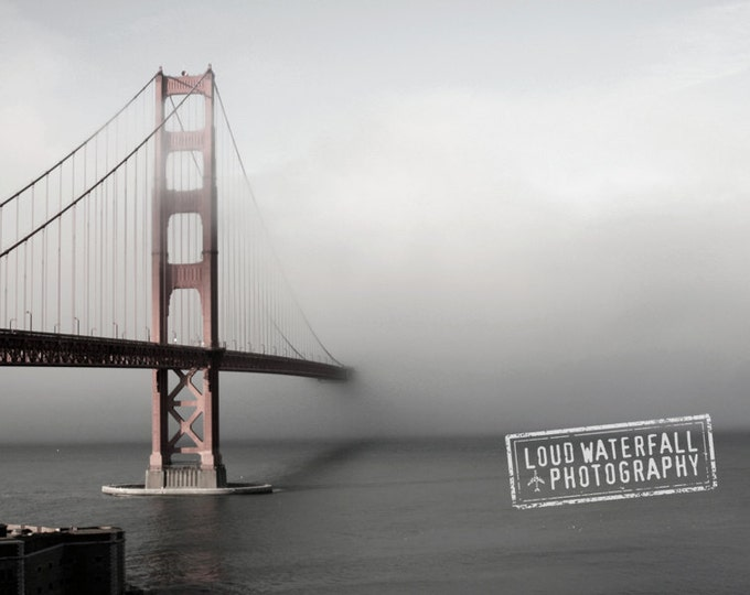 Golden Gate Bridge Home Decor, San Francisco Wall Decor, Gray Grey, Travel Home Decor, Fog Decor, 8x10 and 8x12 IN STOCK