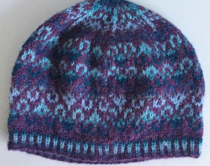 Purple Fair Isle Beanie Hat