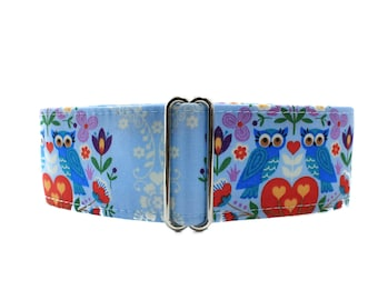 2 Inch Martingale Collar, Owl Martingale Collar, Owl Dog Collar, Blue Dog Collar, Martingale Collar Greyhound, Martingale Dog Collar