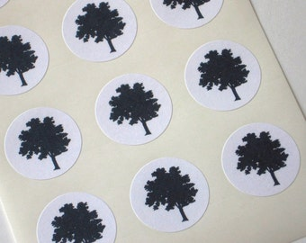 Tree Silhouette Stickers - One Inch Round Seals