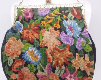 Antique 1920S Petit Point Tapestry Purse Bag Arts & Crafts Floral Design Hand Done Embroidery