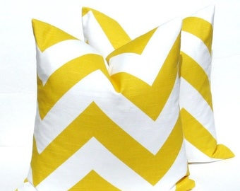 15% Off Sale Decorative Throw Pillows . Yellow Pillow. Chevron Pillow Cover.Printed Fabric both sides.toss pillowHousewares.Pillows.Cushions