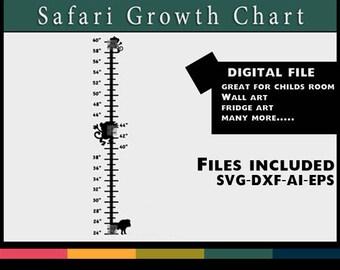 Child Safari Growth Chart Vinyl Design Silhouette SVG DXF file stencil stencils art