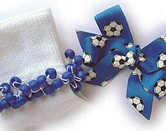 Kathy's Beaded Socks - Royal Blue Soccer Ball Socks and Hairbow, girls socks, pony bead socks, royal blue socks, soccer ball, school socks