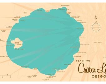 Crater Lake, OR Map Print