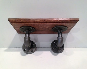 """Industrial Urban Iron Pipe shelf  (Pick your Own Stain, Routed Edge, and Size 18""""-24"""")"""