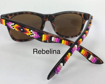 Sale Hand Beaded Sunglasses Pink Fire