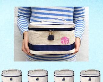 5 Bridal Party Linen Train Case | Bridesmaid Gifts | Monogram Case | Bachelorette Party Gift | Bridesmaid Bag | Travel Case | Toiletry Bag