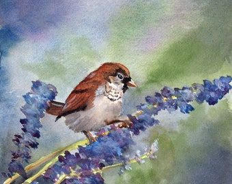 Sparrow and Lavender original watercolor painting on Arches 300#