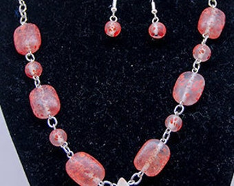 Canyon Marble Pendant Necklace with matching earrings